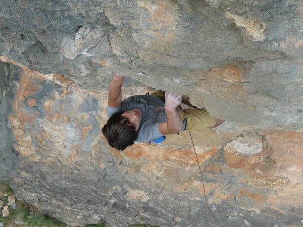 Pietro Biondi climbing Forza Pabla, 6c, Luca Biondi