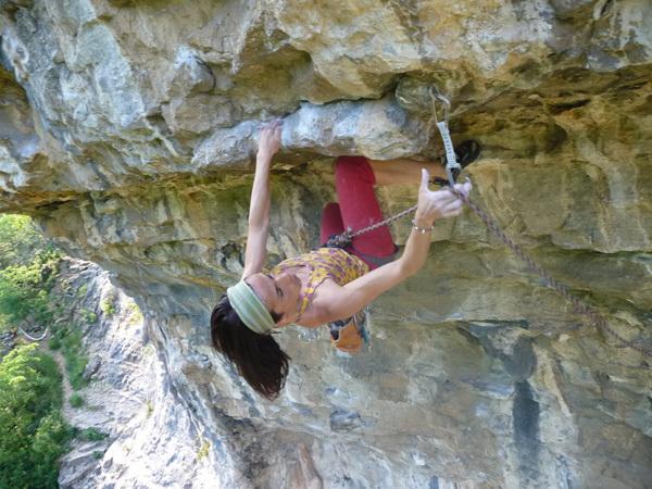 Claudia Gliglio climbing Rinascilla, 7c+, Luca Biondi