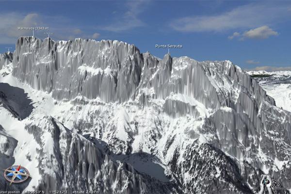 La maestosa parete sud della Marmolada, Dolomiti, 3drealitymaps