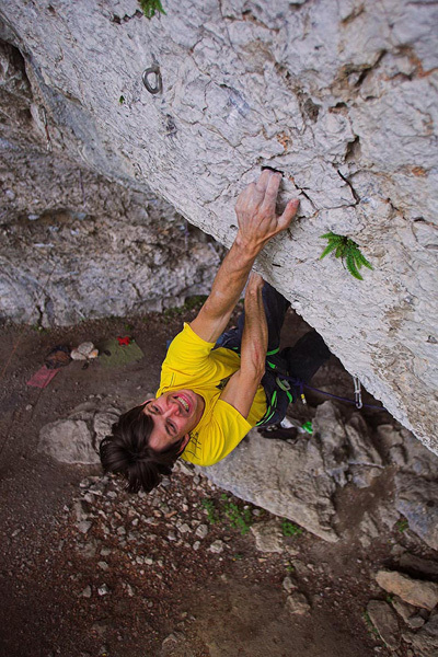 Luka Zazvonil during the first ascent of Miza za šest, or Table for Six 8c+/9a at Kotečnik in Slovenia., Urban Golob