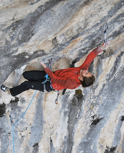 French climber Caroline Ciavaldini on-sighting 8b, archive Caroline Ciavaldini