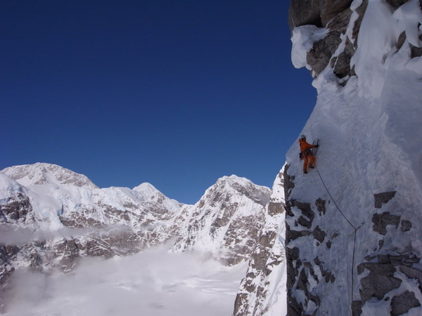 Matt Helliker high up on the North Face of Mt. Hunter, Alaska, Helliker & Bracey