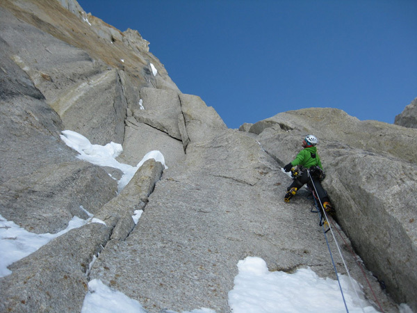 Jon Bracey during the first ascent of The Cartwright Connection, North Face of Mt. Hunter, Alaska. , Helliker & Bracey