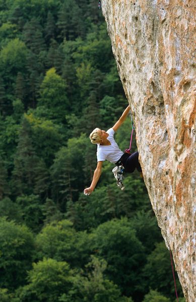Liv Sansoz climbing at the Gorges du Tarn, France, Simon Carter