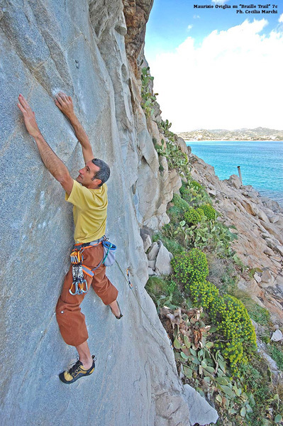 Maurizio Oviglia climbing Braille Trail 7c, Villasimius, Cecilia Marchi