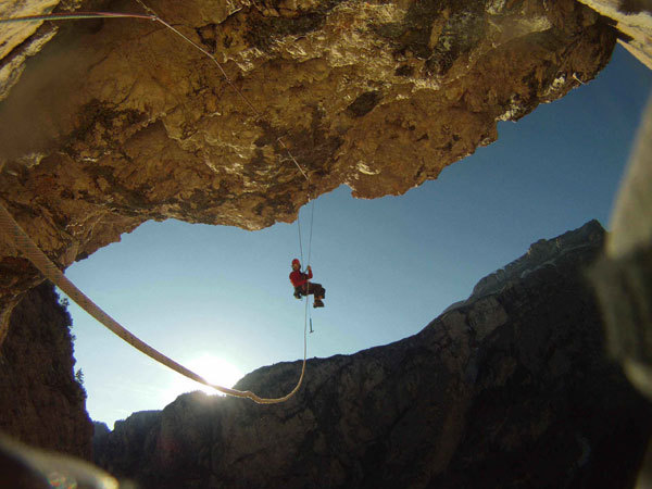 On the great roof of Zauberberg (The Magic Mountain) North Face of Ciastel de Chedul (Vallunga, Dolomites), arch. Riegler