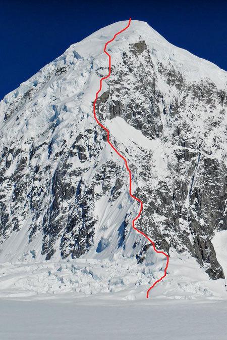 la via salita da Meraldi e Giovannini lungo Sperone Est del Kahiltna Peaks West (3914m, Gruppo del McKinley-Denali, Alaska), arch. Giovannini - Meraldi