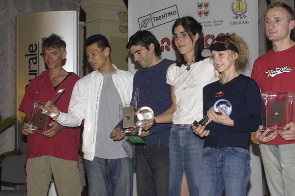 The winners of the first Arco Rock Legends, Josune Bereziartu andAngela Eiter, along with the other nominees Manolo, Yuji Hirayama, Dani Andrada and Tomas Mrazek, Giulio Malfer