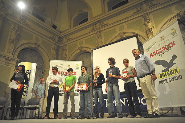 Arco Rock Legends 2008: the winners Maja Vidmar and Adam Ondra, together with Kilian Fischhuber, Patxi Usobiaga and Anna Stöhr, Giulio Malfer