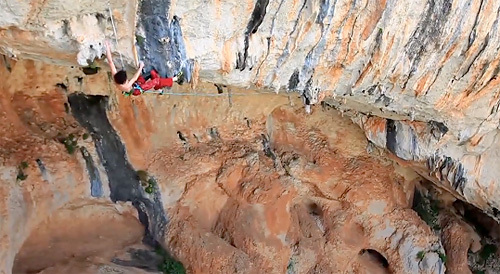 Adam Ondra during the first repeat of lChilam Balam 9b at Villanueva del Rosario, Spain, Bernardo Gimenez
