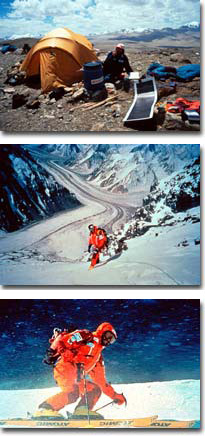 In alto: Al campo base del Muztagh Ata. In mezzo: Hans Kammerlander sul K2. In basso: Kammerlander in discesa dall'Everest, Planetmountain.com