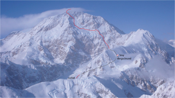 The line chosen by Swedish skier Andreas Fransson down the South Face of Denali., Andreas Fransson