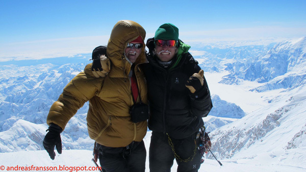 Magnus Kastengren (left) and Andreas Fransson (right) on the summit of Denali, 2011, Andreas Fransson