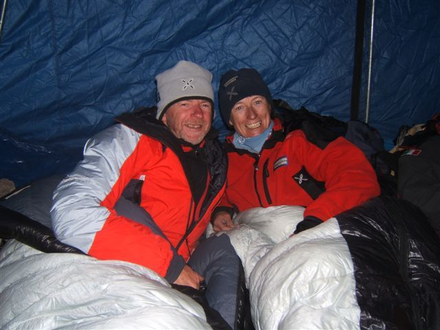 Romano Benet e Nives Meroi al campo intermedio dell'Everest la scorsa primavera., arch. Meroi - Benet