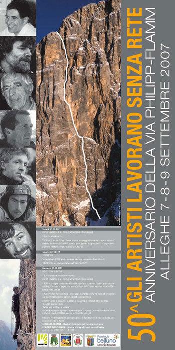Dal 7 al 9/09 ad Alleghe e al rifugio Tissi si festeggierà il 50esimo anniversario dell'apertura della via del diedro Philipp – Flamm sulla parete nord ovest della Civetta (Dolomiti)., Planetmountain.com