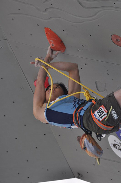 During the Lead Qualification Women at the Climbing World Championship in Arco, Giulio Malfer