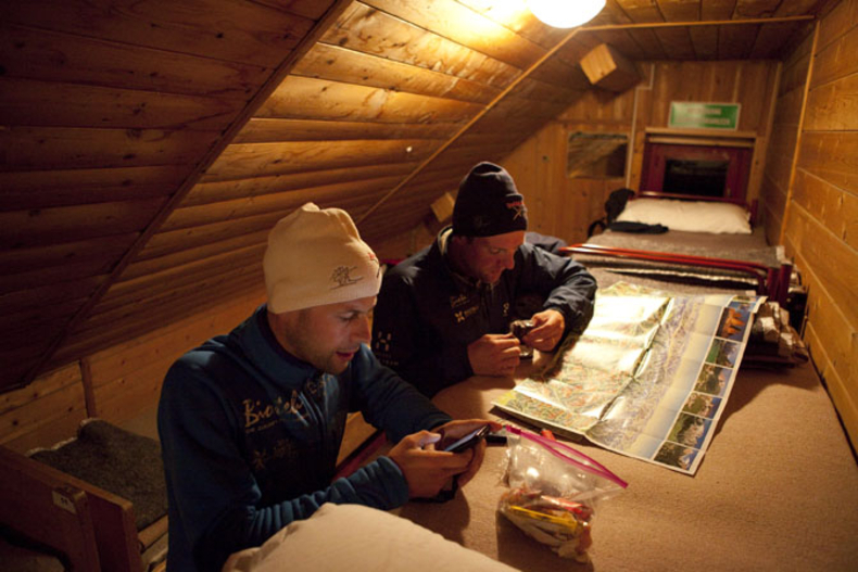 Route checking in the Tre Cime hut , Red Bull