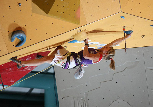 Angela Eiter winning her third Lead World Championship title in Arco., Anna Piunova