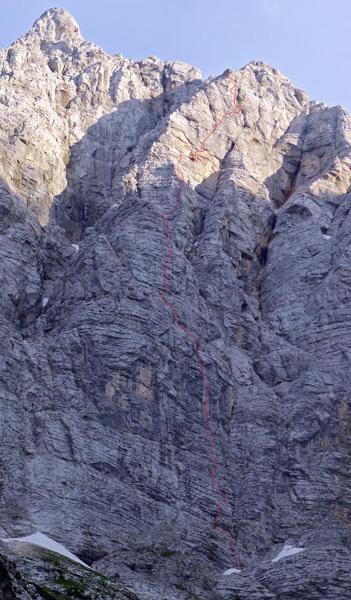 The line of Ulina smer (IX, 1000m, Tomaz Jakofcic and Tina Di Batista August 2011), North Face of Triglav, Slovenia., Urban Golob