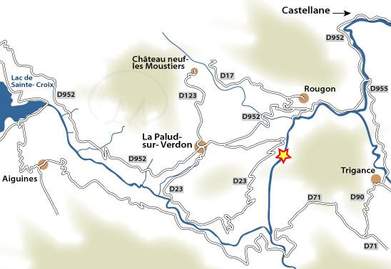 La mappa d'accesso alle Gorges du Verdon., Planetmountain.com