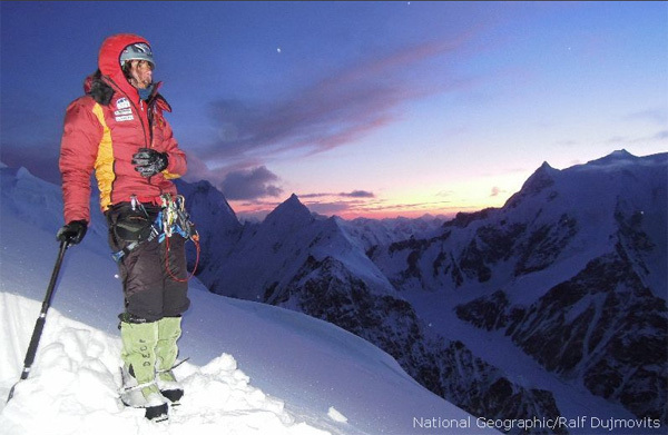 Gerlinde Kaltenbrunner at Camp II on K2, Ralf Dujmovits/National Geographic