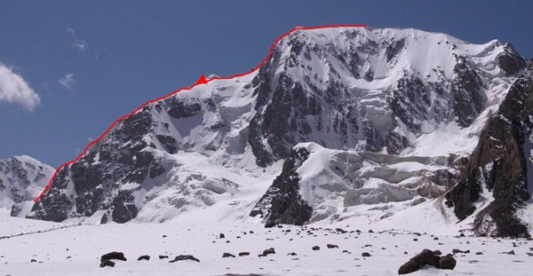 Peak Alexandra (5290m), Kyrgyzstan with the line of