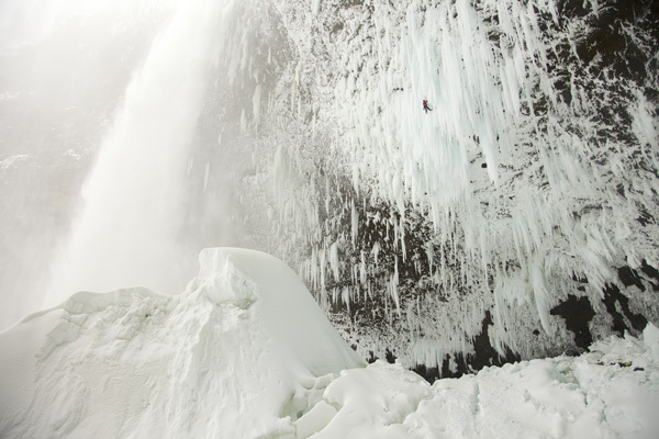 Will Gadd and Tim Emmett at the Helmcken Falls in Canada. , Big Up Productions