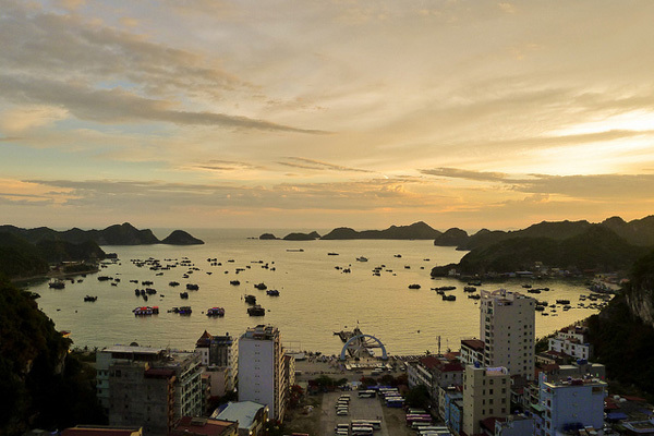 Cat Ba Town, looking a lot more peaceful than it is in reality!, achive Steve & Angie Bradshaw