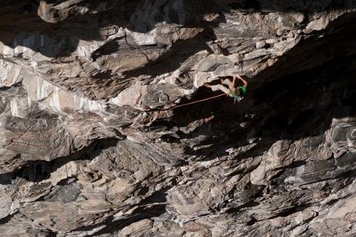 Jorg Verhoeven climbing Nordic Flower 9a at Flatanger, Norway, Saku Korosuo