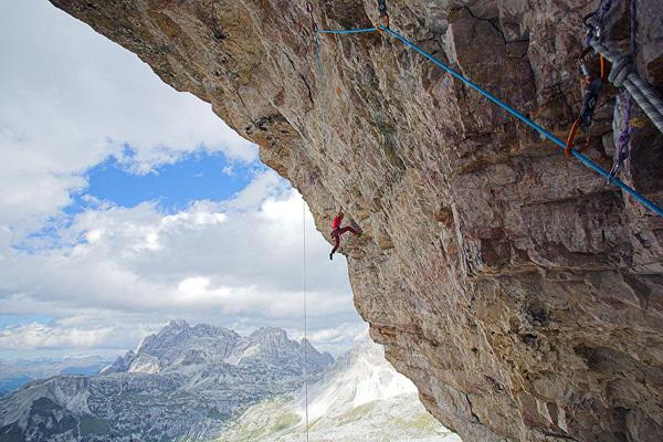 Luka Krajnc climbing Bellavista 8c, Tre Cime di Lavaredo, Dolomites, Urban Golob