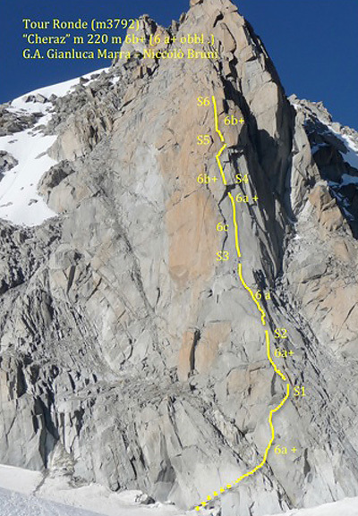 During the first ascent of Cheraz  (6b+, A0, 6a+ obl, 220m), Tour Ronde, Gianluca Marra