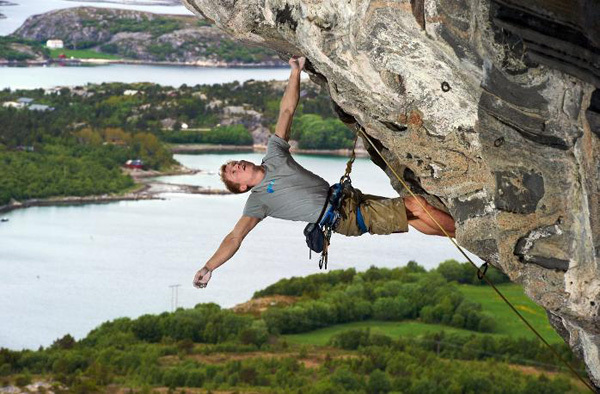 Magnus Midtbö climbing at Hanshellern, alias the crag Flatanger in Norway, Kieran Kolle