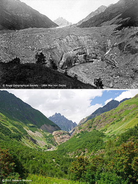 The glacier in 1884 compared to 2011., Fabiano Ventura