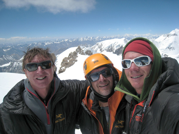 Mark Richey, Steve Swenson and Freddie Wilkinson on the summit of Sasser Kangri II (7518m)., Steve Swenson