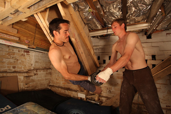 Pete Whittaker & Tom Randall training in Randall's cellar prior to their Wide Boyz trip, Paul Diffley, Hotaches