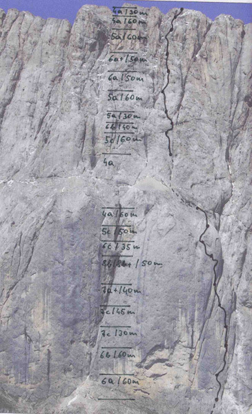 La linea di Bruderliebe (800m/8b/8b+), Marmolada, Dolomiti, archivio Auer