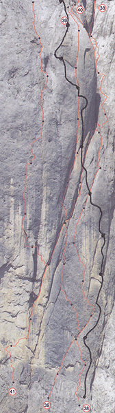 Detail of the lower section of Bruderliebe (800m, 8b/8b+, Hansjörg & Vitus Auer 08/2011), Marmolada, Dolomites, archivio Auer