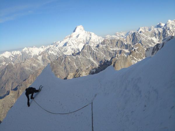 Ascending Sanjači zlatih jam (VI/5, M5, A2, 1600m, Nejc Marčič, Luka Stražar 09/2011) up K7 West (6934m) Charakusa valley, (Karakoram, Himalaya)., Expedition Charakusa 2011