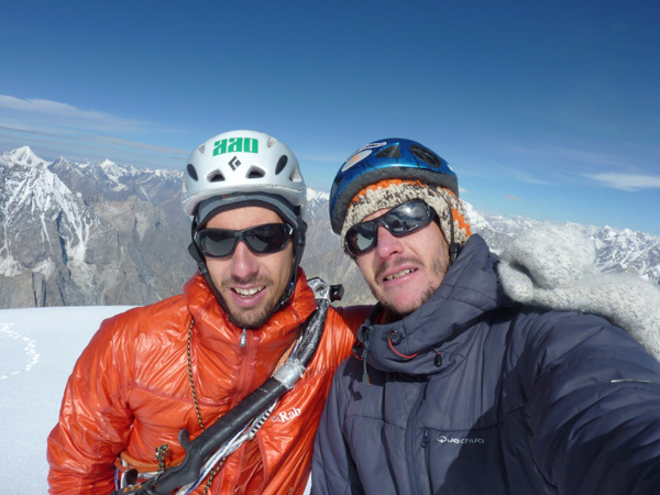 Luka Stražar and Nejc Marčič on the summit of K7 West (6934m) Charakusa valley, (Karakoram, Himalaya)., Expedition Charakusa 2011
