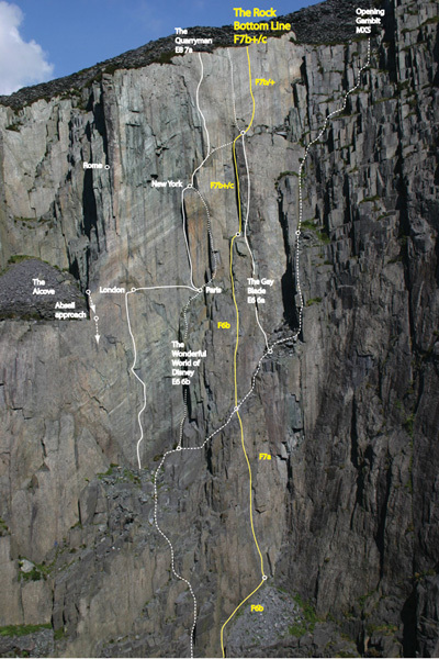 The Rock Bottom Line (130m, 7b+) at Twll Mawr in the Dinorwig slate quarry in Wales., Simon Panton