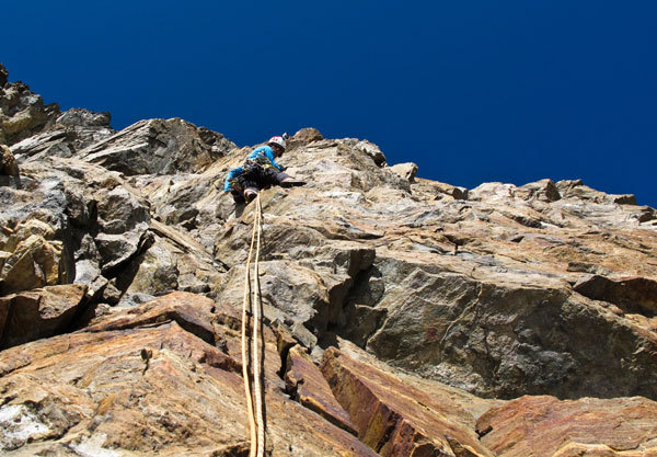 Hervé Barmasse estabishing the route route up the S Face of Monte Rosa, Damiano Levati