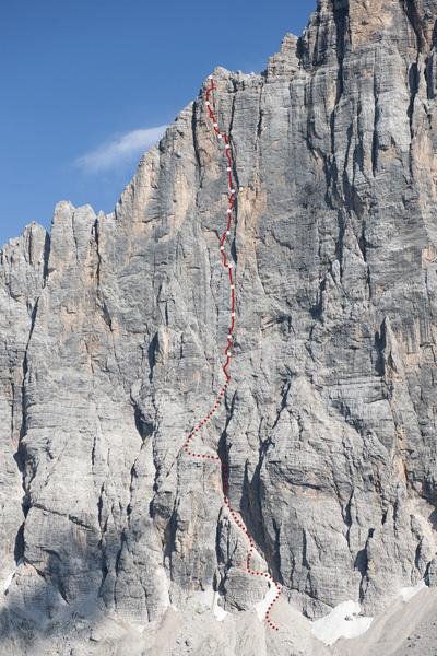 La linea di Chimera verticale, Civetta, Dolomiti, Michi Meisl / ©adidas.