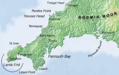 Mappa della Cornovaglia nel sudovest dell'Inghilterra., Planetmountain.com