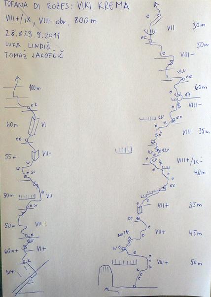 Tomaž Jakofčič and Luka Lindic establishing Viki krema (VIII+/IX-, VIII- obl., 800m), Tofana Di Rozes, Dolomites., Jakofcic & Lindic