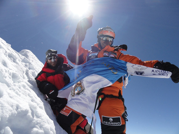 The ski and snowboard descent by Marco Galliano and Carlo Alberto Cimenti of Manaslu, archivio Galliano / Cimenti