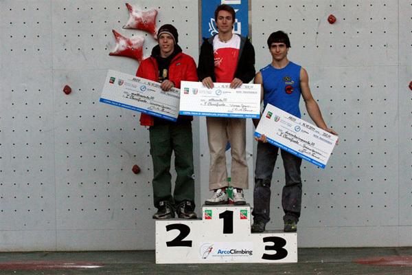 Podio maschile combinata: 1. Stefano Ghisolfi, 2. Leonardo Gontero, 3. Marcello Bombardi, archivio FASI
