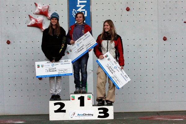 Podio femminile combinata: 1. Sara Morandi, 2. Andrea Ebner, 3. Chiara Limonta, archivio FASI