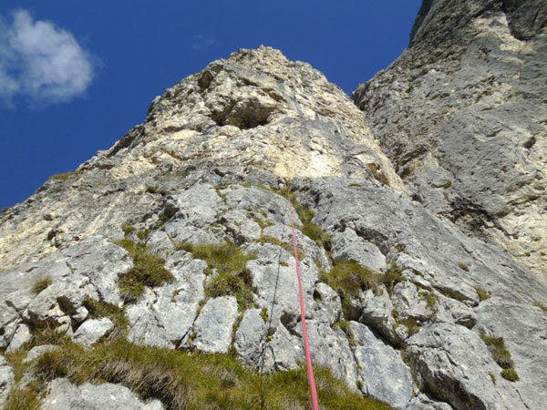 Pitch 2 of Via Ultimo Zar on Prima Pala di San Lucano (Dolomites), Marco Anghileri