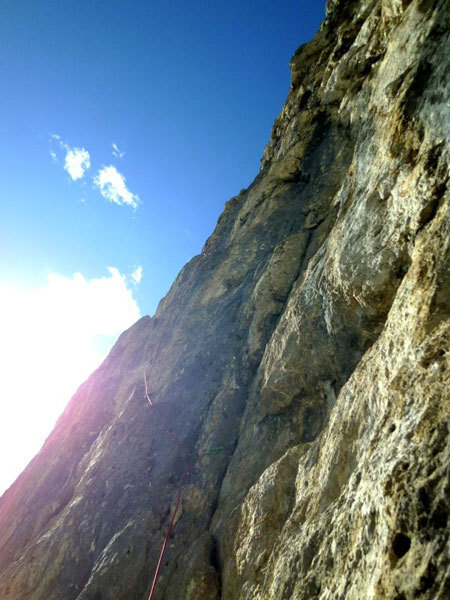 Pitch 7 past the massive cave...first solo of Via Ultimo Zar on Prima Pala di San Lucano (Dolomites), Marco Anghileri