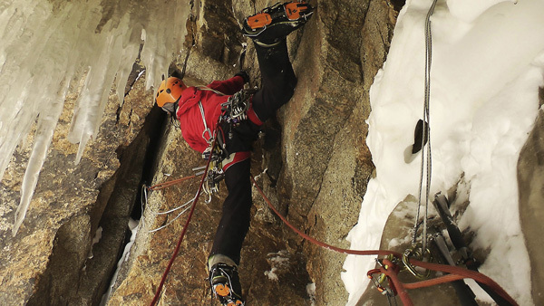Ines Papert during the first ascent of Quantum of Solace, Great Wall of China, Kyrgyzstan, archive Ines Papert